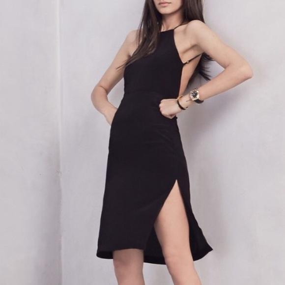 79414e2831ae Reformation Dresses | Black Crepe High Slit Backless Dress | Poshmark